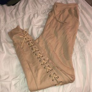 Camel lace up jogger